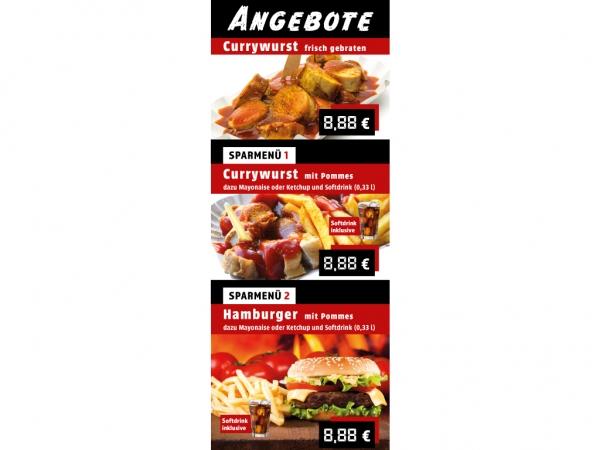 Aufkleber ANGEBOTE CURRYWURST HAMBURGER POMMES Werbung verschiedene Formate