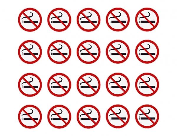 20 Aufkleber RAUCHEN VERBOTEN Rauchverbot, Verbotszeichen, UV-beständig Ø 5 cm