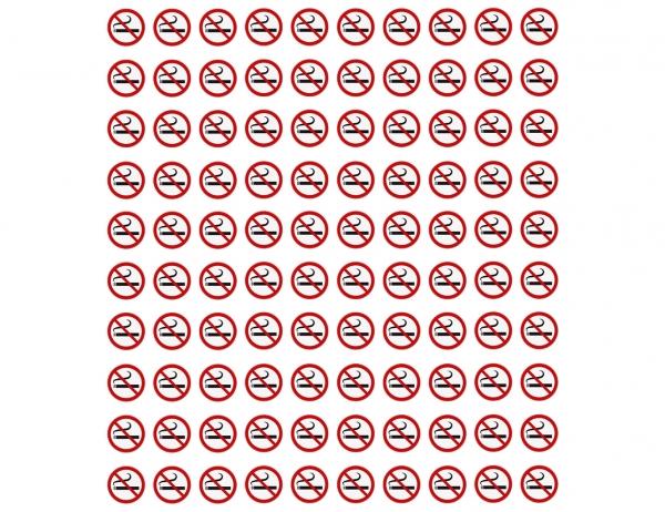 100 Aufkleber RAUCHEN VERBOTEN Rauchverbot, Verbotszeichen, UV-beständig Ø 2 cm