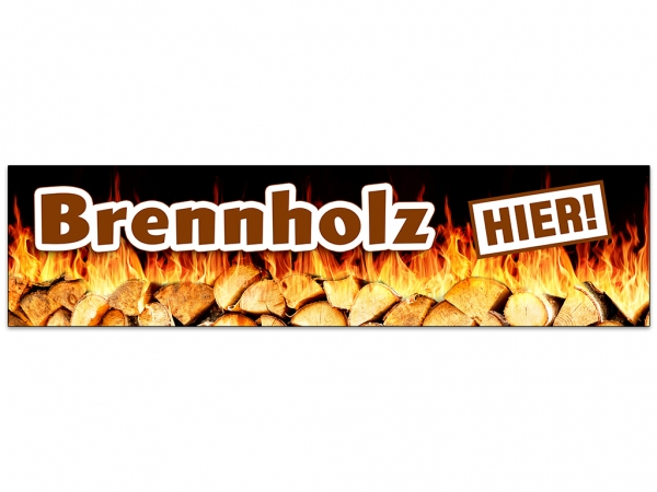 Aufkleber BRENNHOLZ HIER Werbung Feuerholz