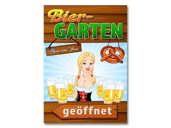 Plakat BIERGARTEN GEÖFFNET Werbung verschiedene Din-Formate und Pfeilrichtungen