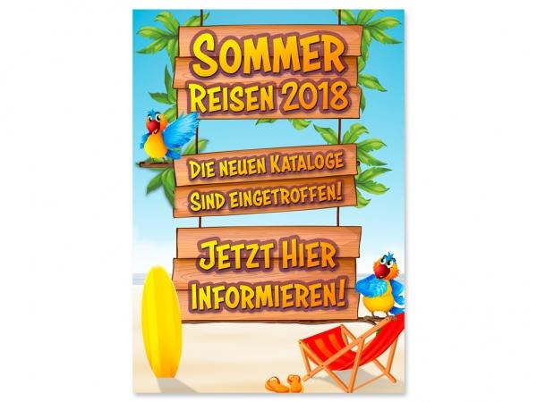Aufkleber SOMMER BEACH HOLZSCHILD Werbung - mit Ihrem Wunschtext bedruckt