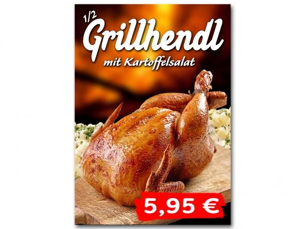 Aufkleber GRILLHENDL MIT KARTOFFELSALAT Werbung verschiedene Din-Formate