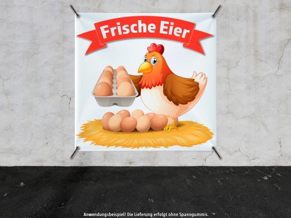 PVC-Banner FRISCHE EIER Werbung Huhn im Nest