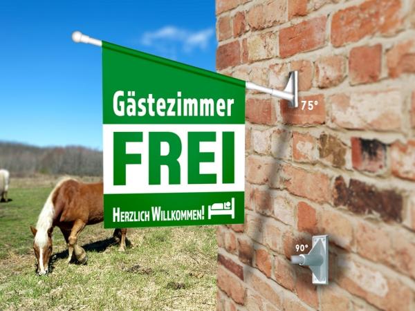 Fahne GÄSTEZIMMER FREI Komplett-Set beidseitig bedruckte Werbefahne