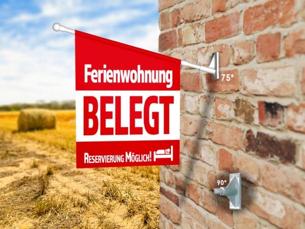 Fahne FERIENWOHNUNG BELEGT Komplett-Set beidseitig bedruckte Werbefahne