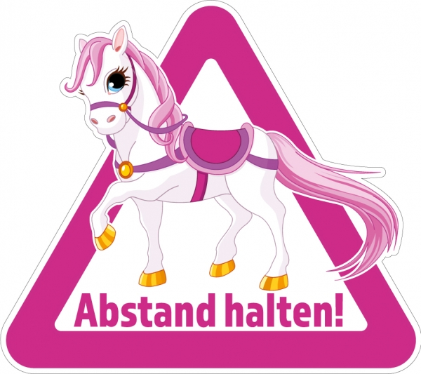 Aufkleber ABSTAND HALTEN! für Pkw, Pferdeanhänger, Transporter 32 x 28,5cm PINK
