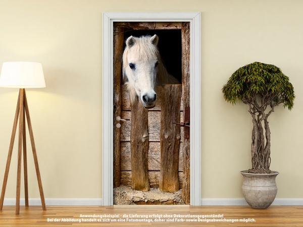 Türtapete Türposter PFERD IM ALTEN PFERDESTALL selbstklebend 205 x 88 cm