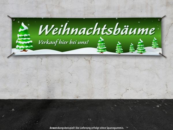 PVC-Banner WEIHNACHTSBÄUME VERKAUF Spanntransparent - Christmas - Xmas - Schnee - V1G