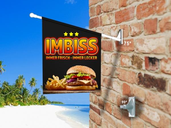 Fahne IMBISS BURGER Komplett-Set beidseitig bedruckte Werbefahne, Kioskfahne