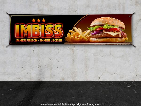 PVC-Banner IMBISS Werbung Spanntransparent Hamburger Pommes 3StarBG