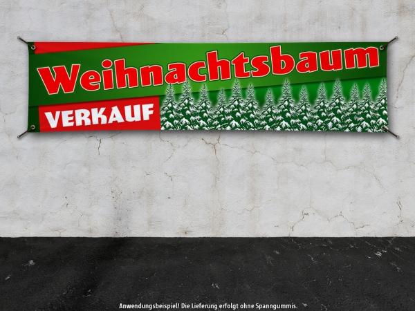 PVC-Banner WEIHNACHTSBAUM VERKAUF HIER Spanntransparent - Christmas - Xmas - Schnee - VRG