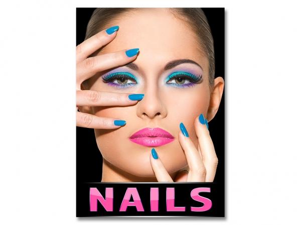 Aufkleber NAILS Nagelstudio Werbung Nails BLUE/P verschiedene Din-Formate