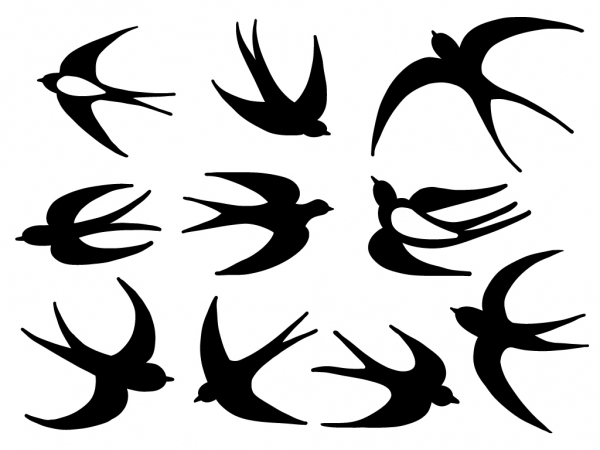 10 x SCHWALBEN AUFKLEBER - Vogelschutzaufkleber für Wintergärten oder Zimmerfenster
