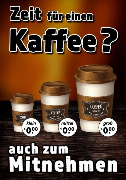 Aufkleber ZEIT FÜR EINEN KAFFEE? Werbung verschiedene Din-Formate