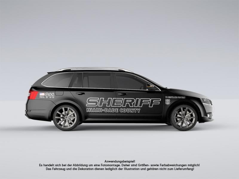 Autoaufkleber Set Sheriff Us Cop Sticker Shocker Car Decal Folie Beidseitig