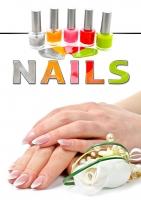 Aufkleber NAILS Nagelstudio Werbung bunt verschiedene Din-Formate