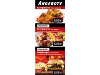 Plakat ANGEBOTE CURRYWURST HAMBURGER POMMES Werbung verschiedene Formate