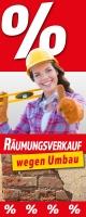 Aufkleber - Schaufenster-Banner RÄUMUNGSVERKAUF WEGEN UMBAU