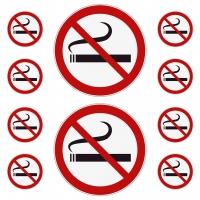 10 Aufkleber RAUCHEN VERBOTEN Rauchverbot, Verbotszeichen, UV-beständig Ø 5 und 10 cm