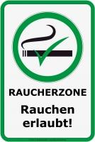 Aufkleber RAUCHERZONE - RAUCHEN ERLAUBT 20 x 30 cm