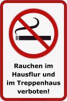 Aufkleber RAUCHVERBOT HAUSFLUR & TREPPENHAUS 20 x 30 cm