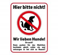 Aufkleber KEIN HUNDEKLO - HIER BITTE NICHT! Wir lieben Hunde! 40 x 30 cm