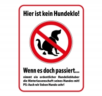Aufkleber KEIN HUNDEKLO - WENN ES DOCH PASSIERT... 40 x 30 cm