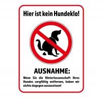 Aufkleber KEIN HUNDEKLO - AUSNAHME 40 x 30 cm