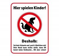 Straßenschild KEIN HUNDEKLO - HIER SPIELEN KINDER! 40 x 30 cm