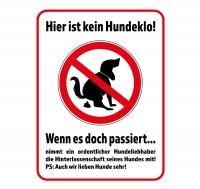 Straßenschild KEIN HUNDEKLO - WENN ES DOCH PASSIERT... 40 x 30 cm