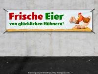 PVC-Banner FRISCHE EIER VON GLÜCKLICHEN HÜHNERN