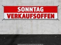 PVC-Banner SONNTAG VERKAUFSOFFEN rot/weiss