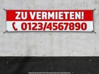PVC-Banner ZU VERMIETEN rot/weiss mit Ihrer Telefonnummer