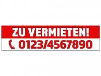 Aufkleber ZU VERMIETEN rot/weiss mit Ihrer Telefonnummer