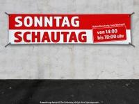 PVC-Banner SONNTAG SCHAUTAG mit Wunschuhrzeit - rot/weiss