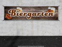 PVC-Banner BIERGARTEN Holzplanken Optik