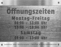 Schild ÖFFNUNGSZEITEN Geschäftszeiten mit Ihrem Wunschtext in Edelstahl-Metalloptik