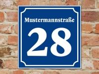 Wunschtext STRAßENSCHILD HAUSNUMMER - 20 x 20 cm blau-weiß