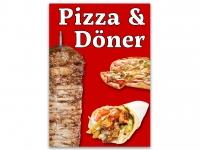 Aufkleber PIZZA & DÖNER Werbung verschiedene Din-Formate Imbiss Grill