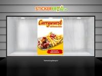 Aufkleber CURRYWURST MIT POMMES Werbung verschiedene Din-Formate