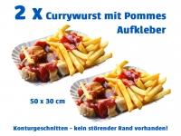 2 x Aufkleber CURRYWURST MIT POMMES Werbung Konturschnitt ohne Rand