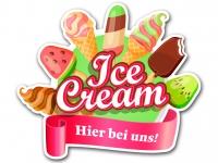 Aufkleber ICE CREAM - HIER BEI UNS Werbung Konturschnitt