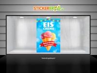 Plakat EISCREME ERFRISCHEND UND LECKER Werbung verschiedene Din-Formate