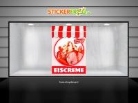 Plakat EISCREME ERDBEERE ERFRISCHEND UND LECKER Werbung verschiedene Din-Formate