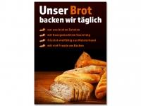 Plakat UNSER BROT BACKEN WIR TÄGLICH... Bäckerei Werbung verschiedene Din-Formate