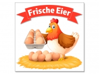 Aufkleber FRISCHE EIER Werbung Huhn im Nest