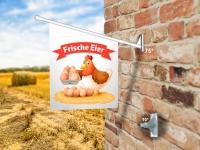 Fahne FRISCHE EIER Komplett-Set beidseitig bedruckte Werbefahne, Kioskfahne