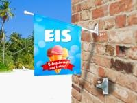 Fahne EIS - ERFRISCHEND & LECKER! Komplett-Set beidseitig bedruckte Werbefahne, Kioskfahne