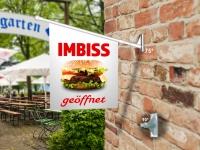 Fahne IMBISS GEÖFFNET - Komplett-Set beidseitig bedruckte Werbefahne, Kioskfahne